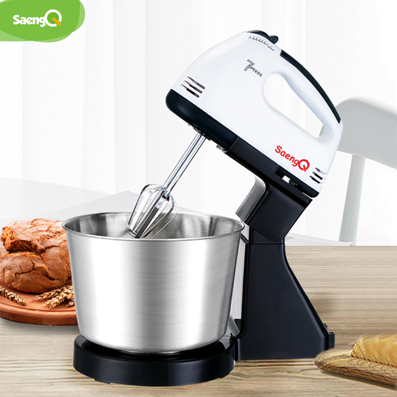 SaengQ 7 Speed Electric Food Mixer Table Stand Cake Dough Mixer Handheld Egg Beater Blender Baking Whipping Cream Machine