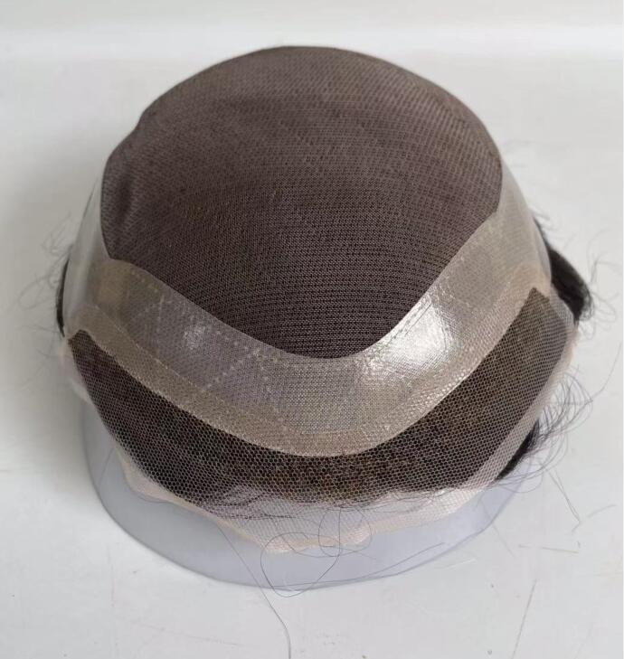 Протез волос индийский моно-6 дюймов на шнуровке спереди и ПУ 130% плотность мужские системы волос прочный мужской парик