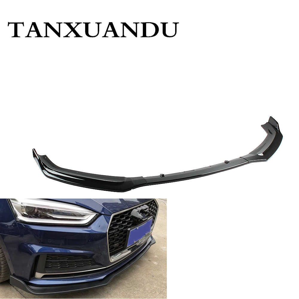 1026 Painted Gloss Black 3-Stage Front Bumper Lip Spoiler Underbody Wing Sport Style Fit For AUDI S5 A5-Sline 2018-2020 Upgrade