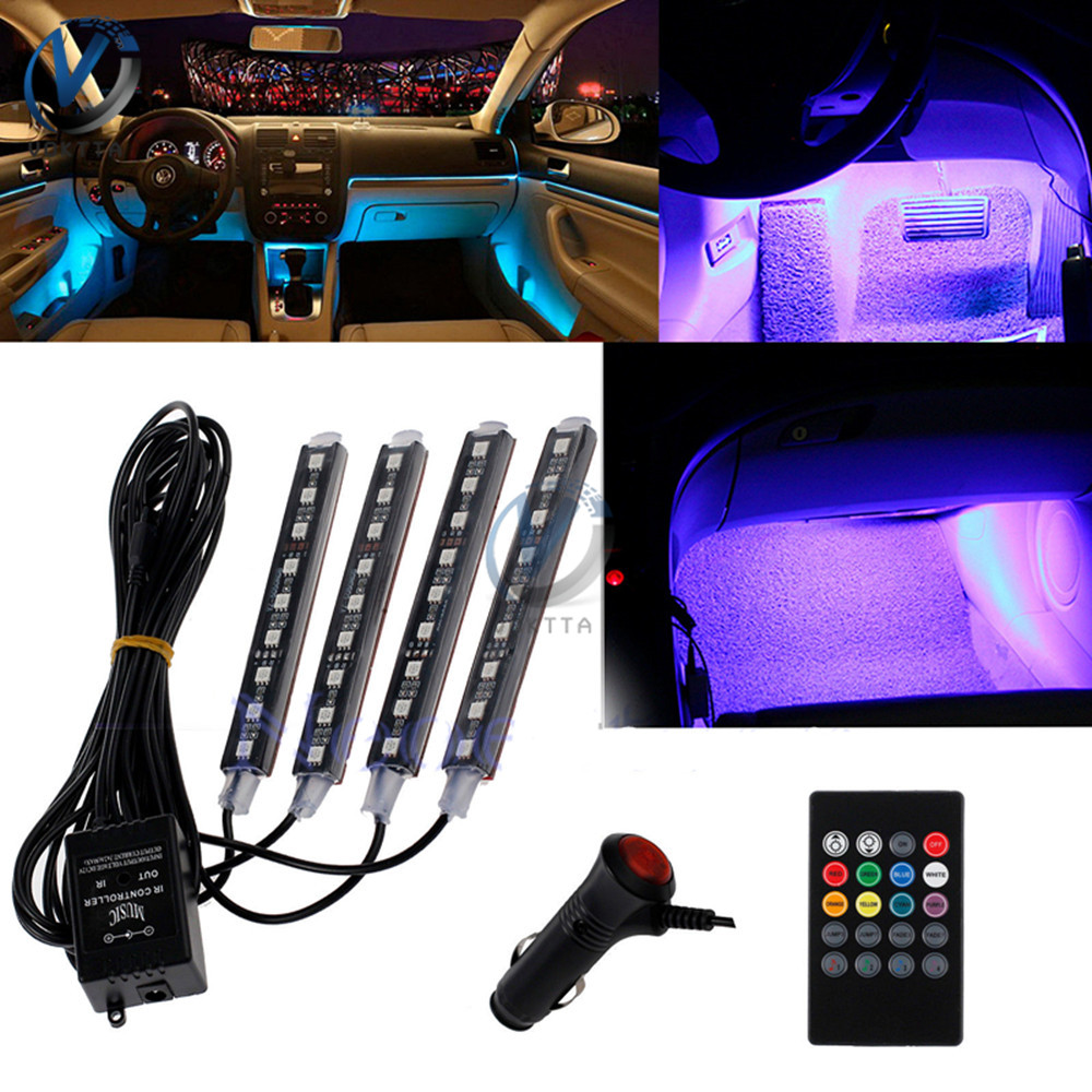 Auto RGB Color 9 LED Strip Light Car Interior Atmosphere Light Strip Wireless Music Control Automatic Controller One For Four