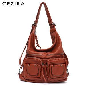 Image 1 - CEZIRA большой мягкий Повседневный женский рюкзак, функциональный школьный рюкзак для девочек, сумка из искусственной кожи, Дамский мессенджер с несколькими карманами и сумка через плечо