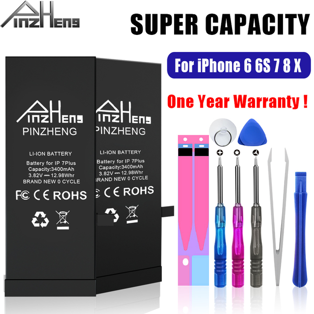 بطارية عالية السعة من PINZHENG لهواتف iPhone 6 6S 7 8 Plus X بطارية بديلة لهاتف iPhone 7 8 6 6S Plus X