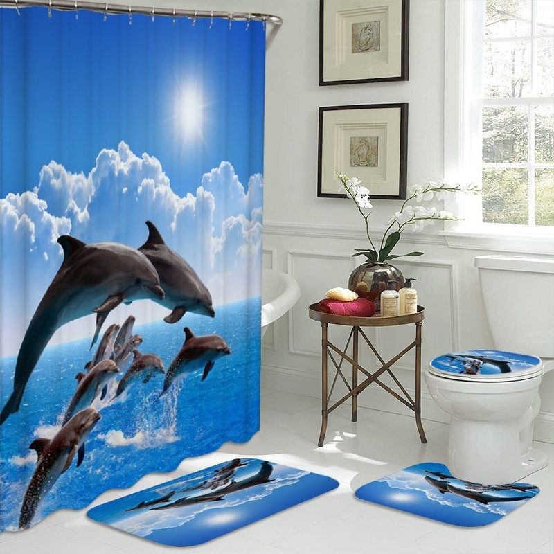 Ocean Design Dolphin 4 In 1 Waterproof Fabric Bathroom 3D Shower Curtain Set with Non Slip Toilet Cover Rugs Mat Home Decoration
