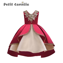 Princess Skirt Dress Performance Costume Bowknot Lace Embroidered Girl Sleeveless Temperament Swallowtail Tutu Layered Dress цена 2017
