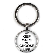 New Creative Cute Keep Happy Text Pattern Keychain Glass Round Pendant Women Key Ring Gift Jewelry Charm Bag Souvenir for Men цена и фото