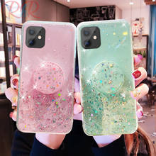 Luxury Glitter Bling Phone Case For iPhone 11 Pro XS Max XR Sequins Star Silicone Case iphone 6 6s 7 8 Plus X Bracket Cover Capa