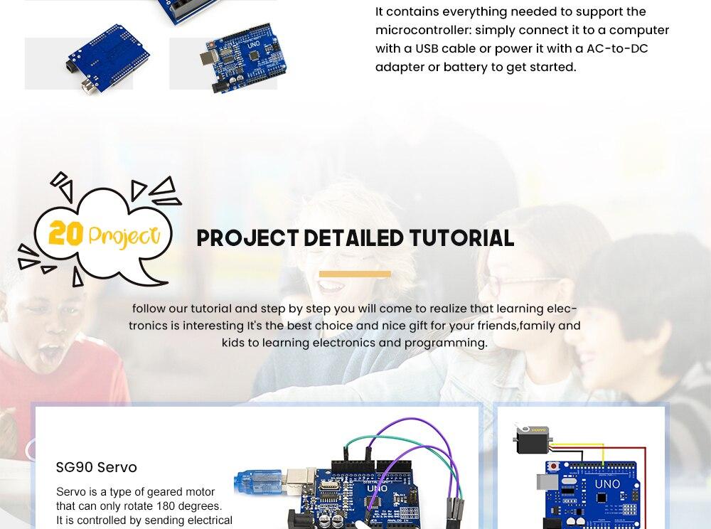 2019 najbardziej opłacalne DIY projekt startowy elektroniczny zestaw do majsterkowania z samouczkiem kompatybilny z Arduino IDE UNO R3 CH340 3