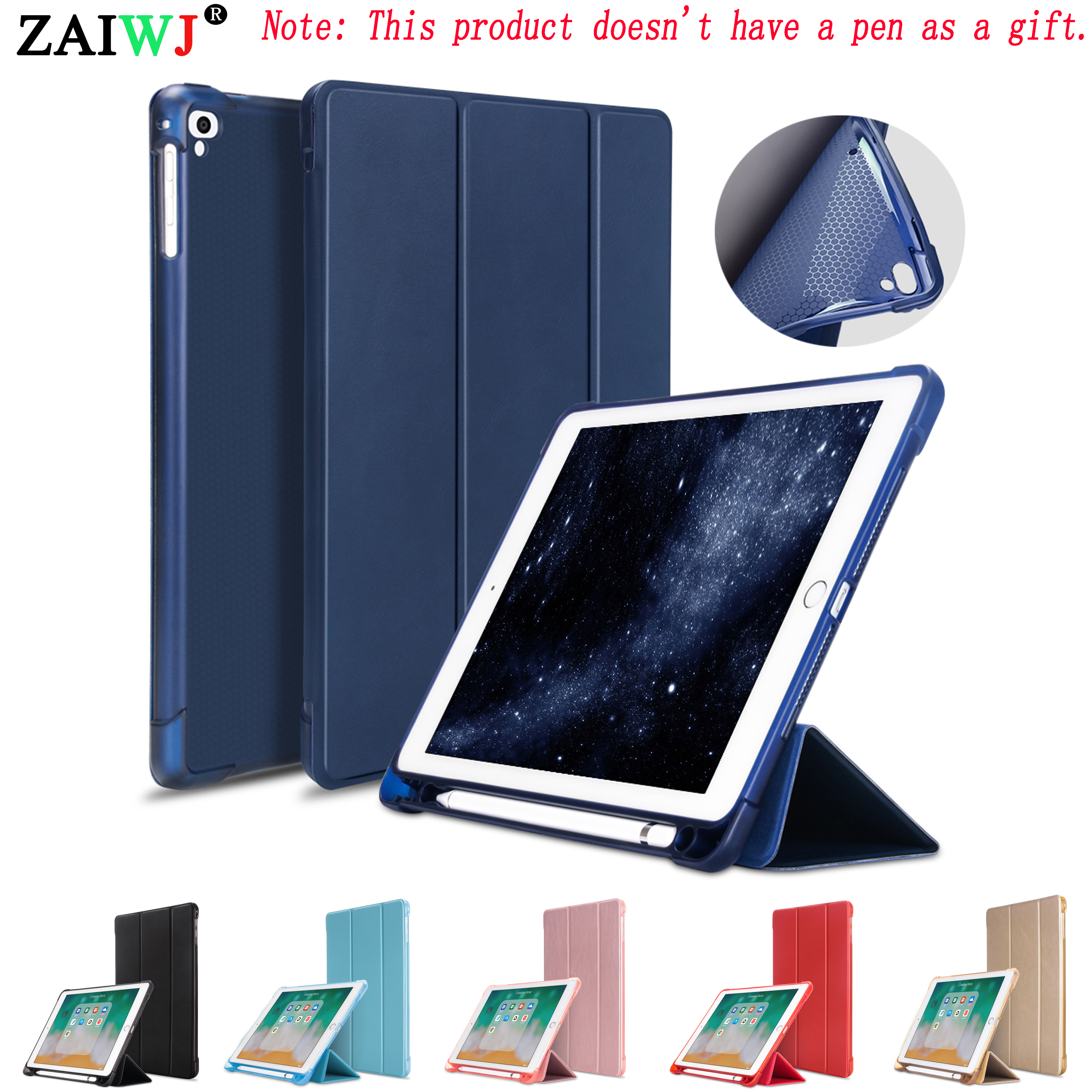 ZAIWJ Pencil Case with Stand for Apple <font><b>iPad</b></font> <font><b>9</b></font>.<font><b>7</b></font> inch (<font><b>2018</b></font> New) A1893 A1954, <font><b>Air</b></font> <font><b>1</b></font>/<font><b>2</b></font> Pro PU Leather Smart Cover Wake Auto Sleep image