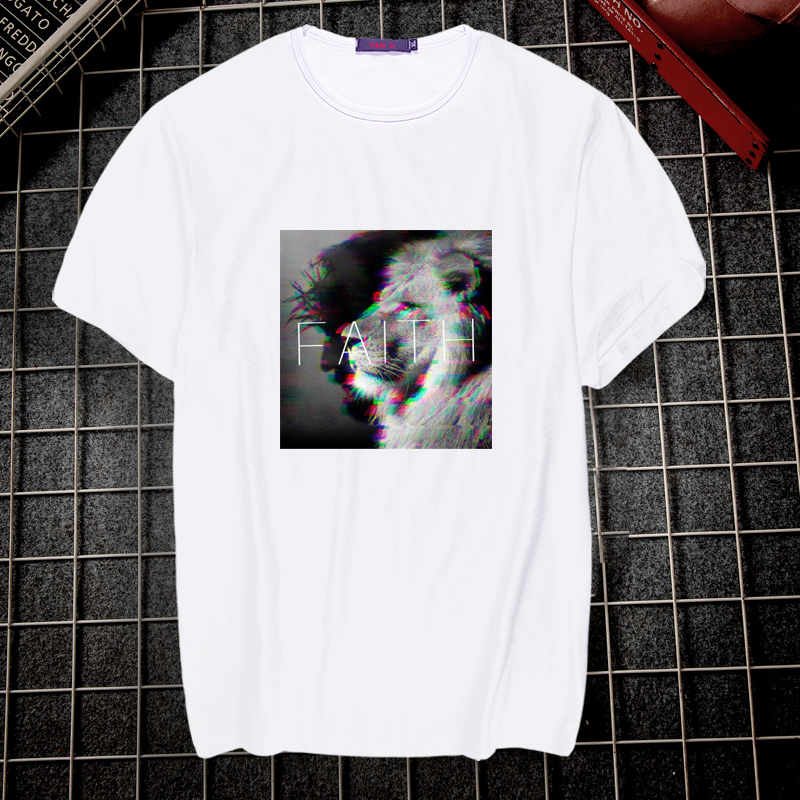 Artistic Aesthetic Letter Printed Women T-shirts Cool FAITH Black And White Pattern Joker White T-shirts Unisex Cool Street Tops