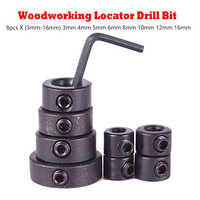 Carbon Steel Drill Bit 8pcs 3-16mm Drill Bit Limiter Locator Ring Depth Stop Collar Ring Positioner Hex Wrench Woodwork Tool