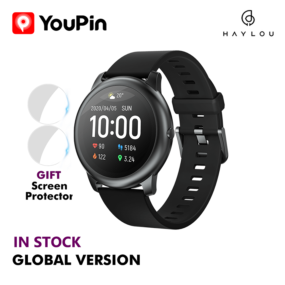 Xiaomi Haylou Solar LS05 Smart Watch Sport Metal Round Case Heart Rate Sleep Monitor IP68 Waterproof 30 Day Battery IOS Android