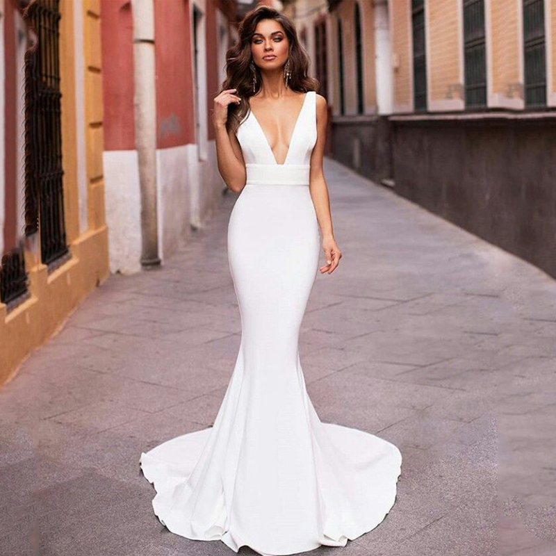 Smileven Mermaid Wedding Dress 2020 V Neck Satin Robe De Mariee Boho Wedding Bride Gowns