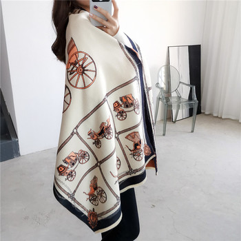 LISM Horse jacquard Winter scarf Imitation Cashmere pashmina women scarfs warm thick Dual shawl hijab poncho for ladies [aetrends] winter poncho vintage lace design women s cape shawl cashmere feel scarfs for ladies z 6547