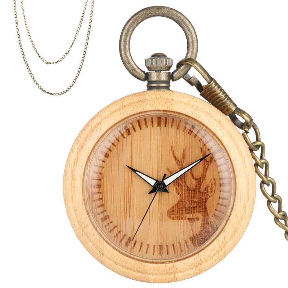 Carving Elk Wooden Watch Round Dial Quartz Pocket Watch Pure Bamboo Wood Watch Case Bronze Fob Chain Top Christmas Gifts