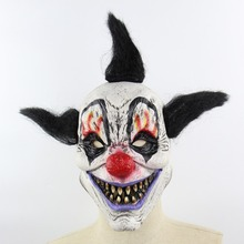 1 PCS Full Face Scary Clown Latax Mask Black Hair Horror Masquerade Adult Ghost Party Halloween Props Costumes Fancy Dress