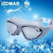 DMAR Myopia Swimming Goggles Electroplat  Anti-Fog Diving Eyewear Professional Waterproof Silicone Glasses