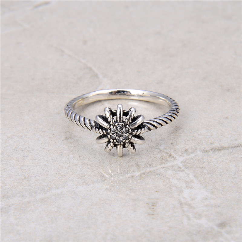 Korean Version Of 925 Sterling Silver Stackable Ring Zircon Inlaid Finger Ring Female Retro 925 Sterling Silver Jewelry