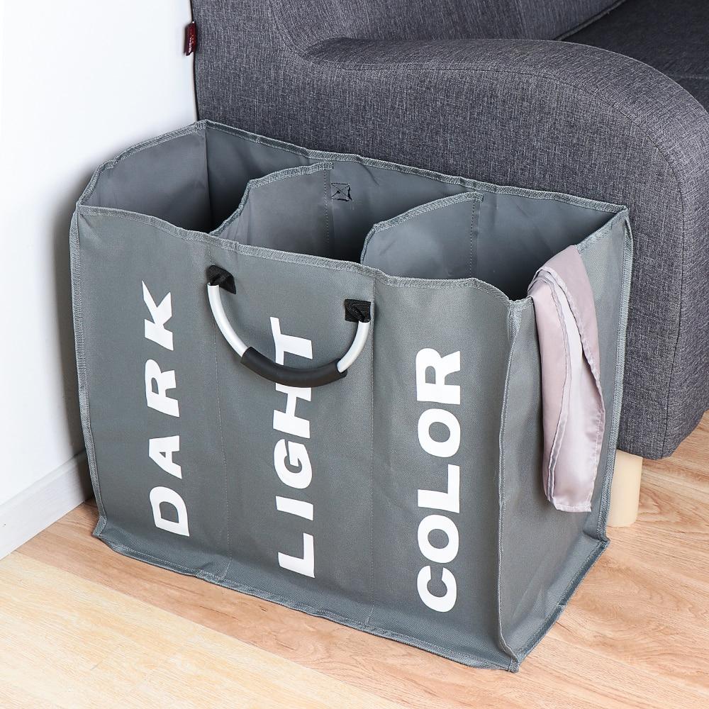 Ev katlanır çamaşır sepeti büyük kirli çamaşır sepeti sepet 3 bölüm Oxford kumaş kirli giysi çantası ile alüminyum sap