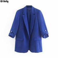 LD Helly 2019 Women Basic Blue Black Blazers Jacket Fashion Three Quarter Sleeve Office Work Female Cozy Casual Brand Coat Tops