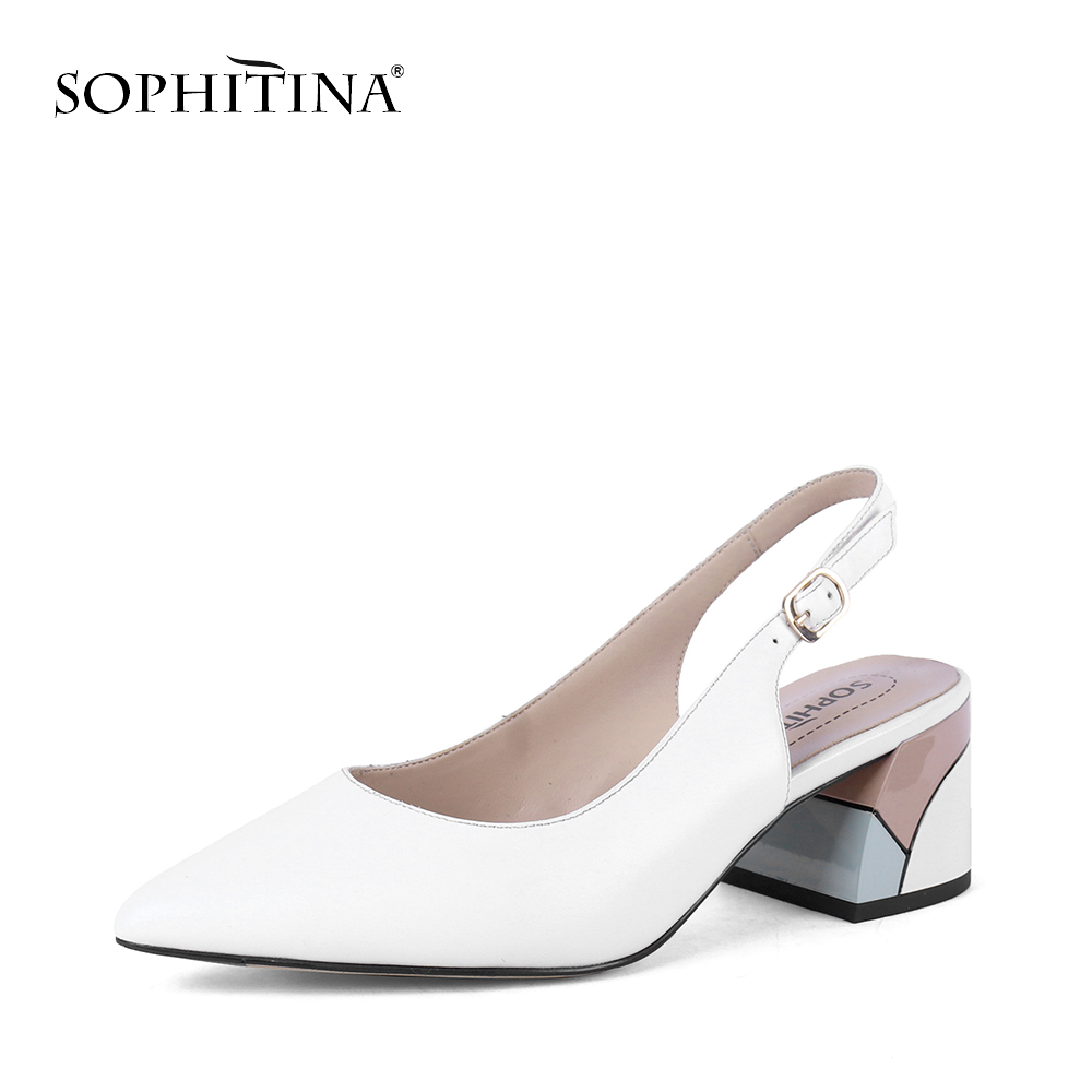 SOPHITINA Fashionable Women Pumps Pointed Toe Square Heel High Square Heel Shallow Back-Strap Shoes Sheepskin Casual Pumps PC633