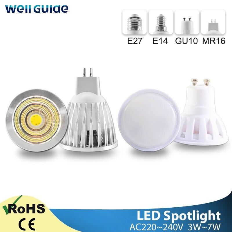 Bombilla foco LED GU10 MR16 E27 E14 LED foco AC 220V 3W 5W 6W 7W lámpara de aluminio COB SMD bombilla led ahorro de energía 110V 220V E27 RGB bombillas de luz led 5W 10W 15W RGB lámpara cambiable colorida RGBW LED lámpara con Control remoto IR + Modo de memoria