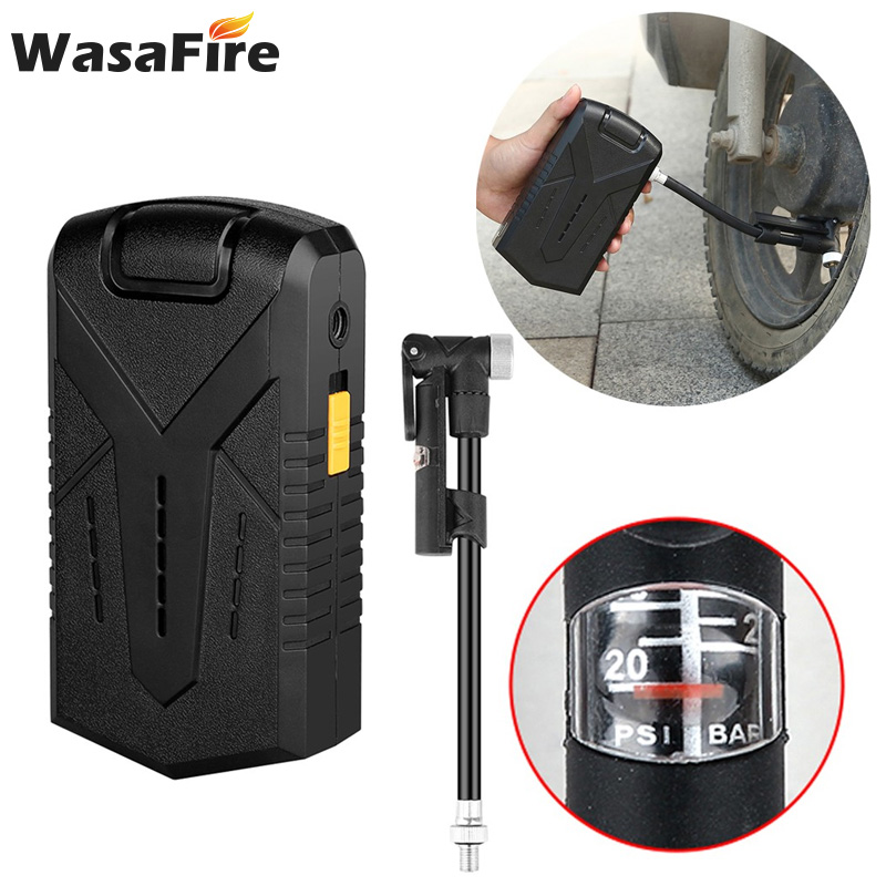 Electric Bicycle Air Pump USB Rechargeable Mini Tires Inflator Compresor Portable Bike Cycling Motorcycle Pumps with barometer