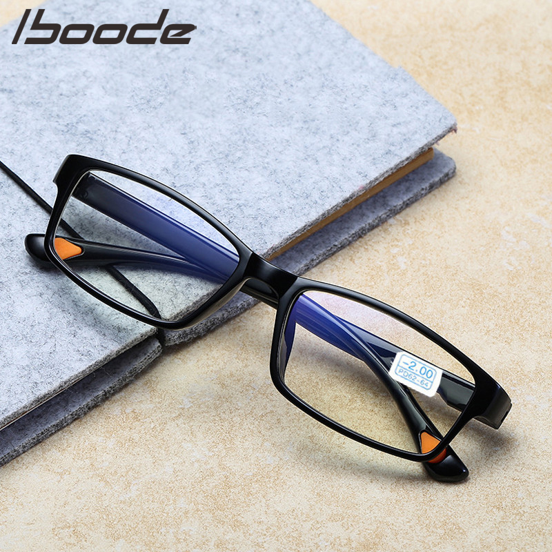 IBOODE TR90 Myopia Glasses Women Men Square Finished Nearsighted Eyeglasses Female Male Shortsighted Eyewear Unisex Spectacles