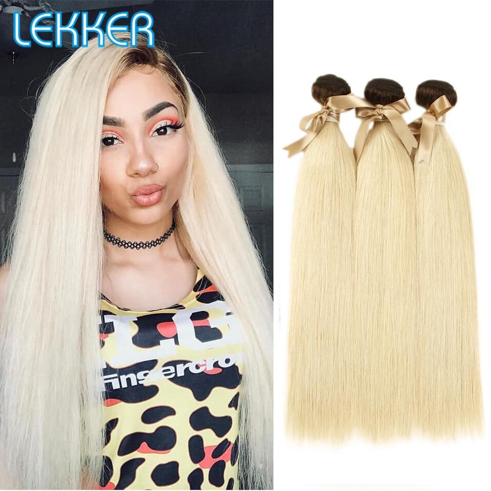 Lekker Ombre Blonde Hair Bundles Dark Roots 3 Bundles Remy Hair