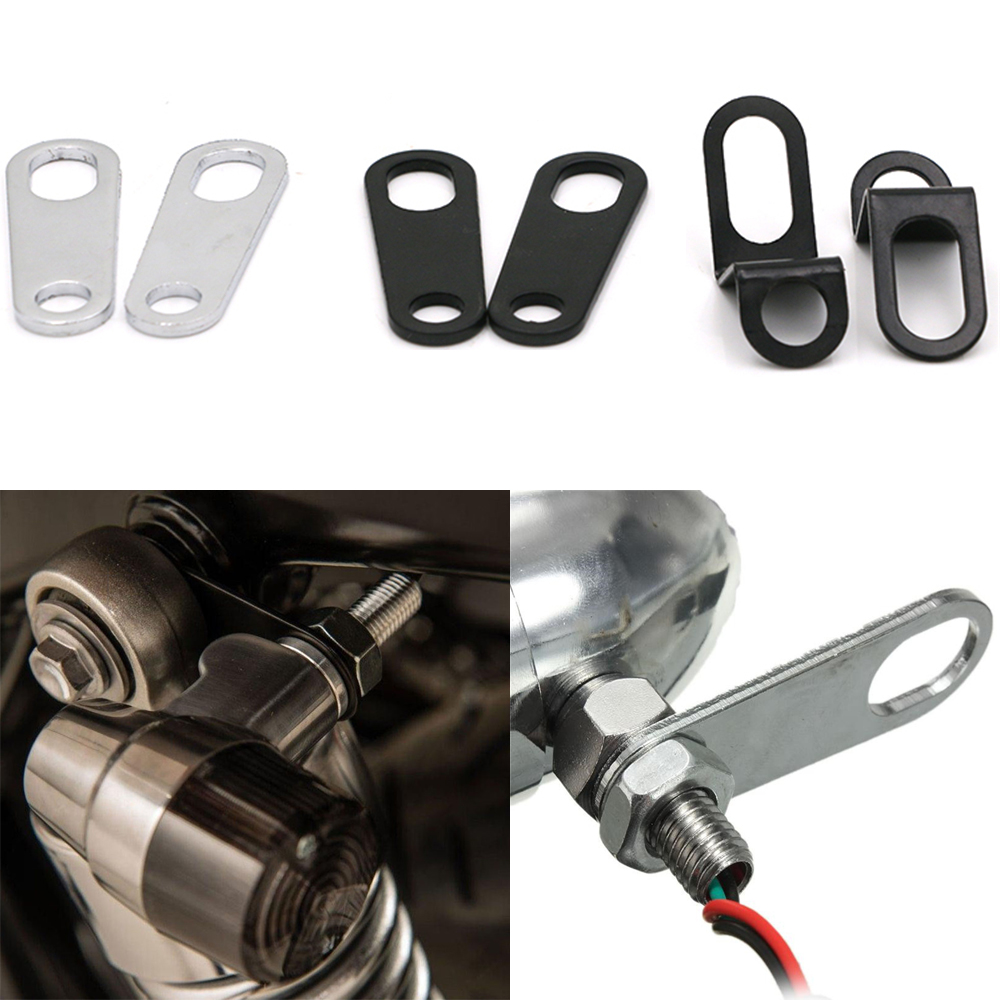 2PCS Universal Motorcycle Turn Signal Lights Brackets Motorbike Indicator Lamps Holder Fork Lamp Mount Clamps Metal Accessories