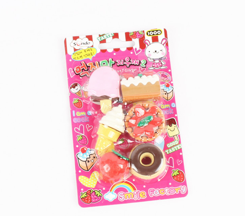 Cute Kawaii Dessert Food Cake Doughnut Ice Cream Biscuit Pencil Erasers School Office Supplies Rubber Eraser Gift For Kids