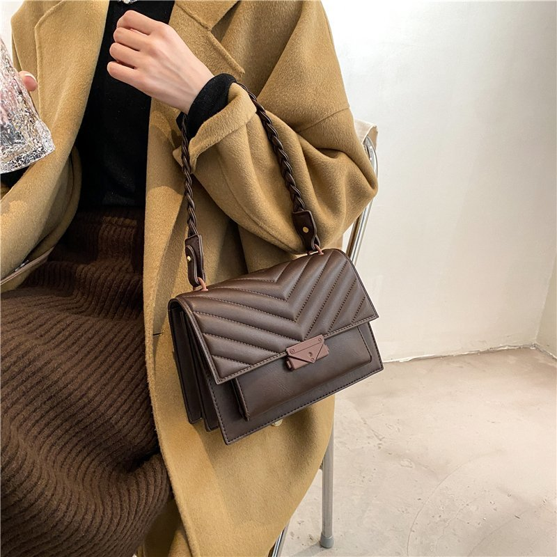 V shape  Brand Designer PU Leather Crossbody Bags For Women 2021 Luxury Shoulder Bag Lady Branded Small Handbags and Purses