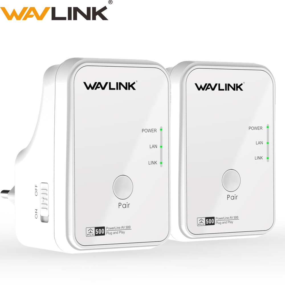 1pair Wavlink AV500 Powerline Network Adapter RJ45 500Mbs Powerline Kit Ethernet Adapter IPTV HomePlug AV Plug And Play EU/US