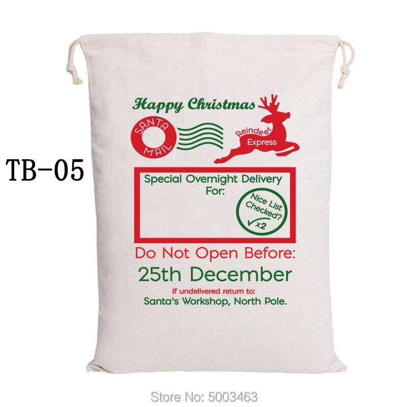 Christmas Stocking Bags 20pcs Canvas Candy Bags Santa Sack Party Decoration Santa Claus Bags Personalized Kids Present Wholesale