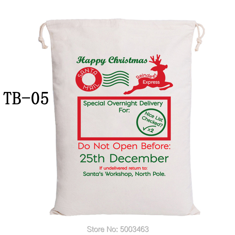 Customized Christmas Bags 100pcs/lot Canvas Candy Bags Santa Sack Party Decoration Santa Claus Bags Personalized Kids Present