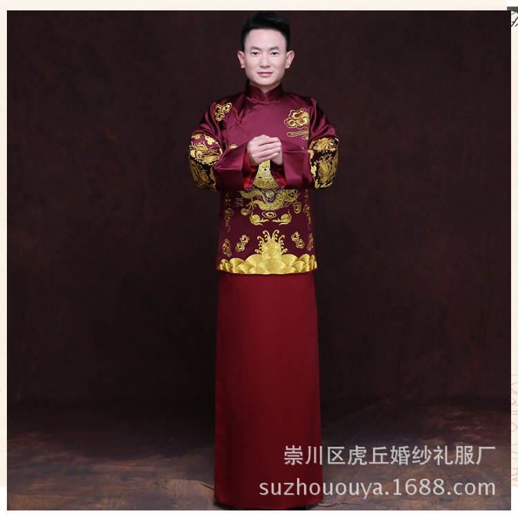 Embroidery XiuHe Chinese tunic suits men groom suit set with pants 2019 mens wedding suits costume formal groom wear