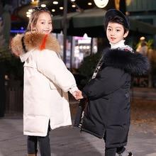 Fashion Winter Thicken Warm White Duck Down Child Coat Fur Collar Waterproof Girls Jackets Children Outerwear For 110-170cm