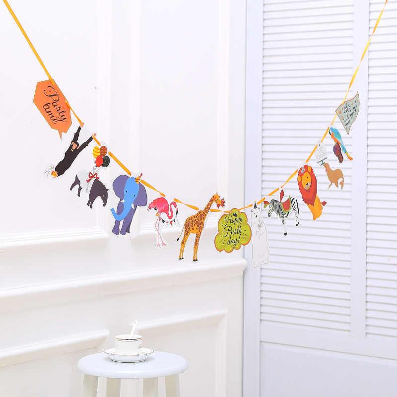 Тропический лес диких животных баннер Полосатый Бумажные флаги джунгли сафари гирлянда овсянка для детей день рождения Декор Детские сувениры