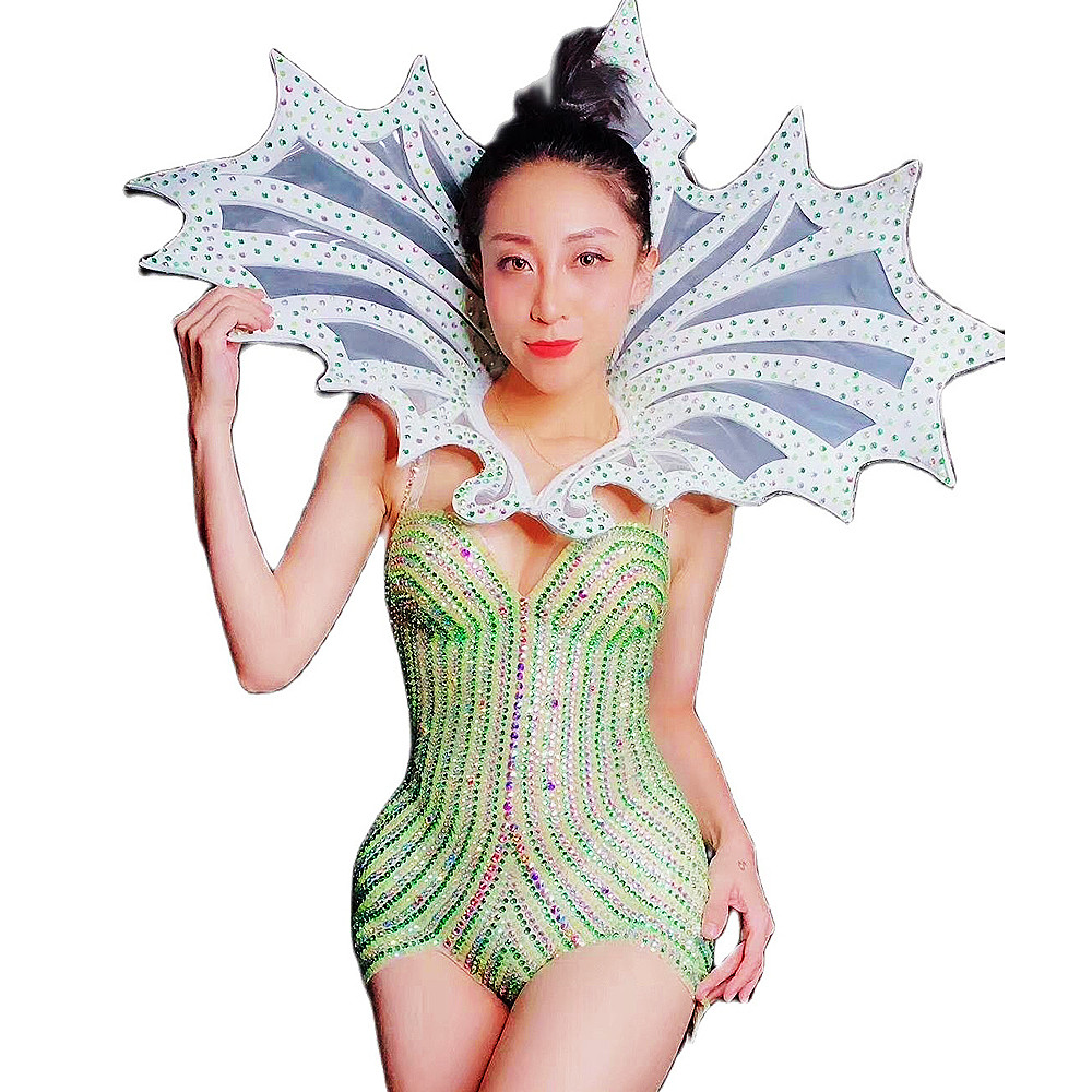 Backless Performance Dance Costume Rhinestones Striped Bodycon Green Sling Bodysuit Shiny Costume For Women Nightclub Outfit