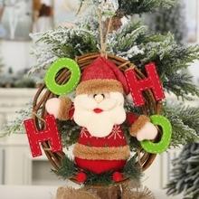 Christmas Santa Claus/Snowman/Reindeer Pendant Party Decorative Rattan Cartoon Doll Hanging Wreath Ornaments Door Decorations