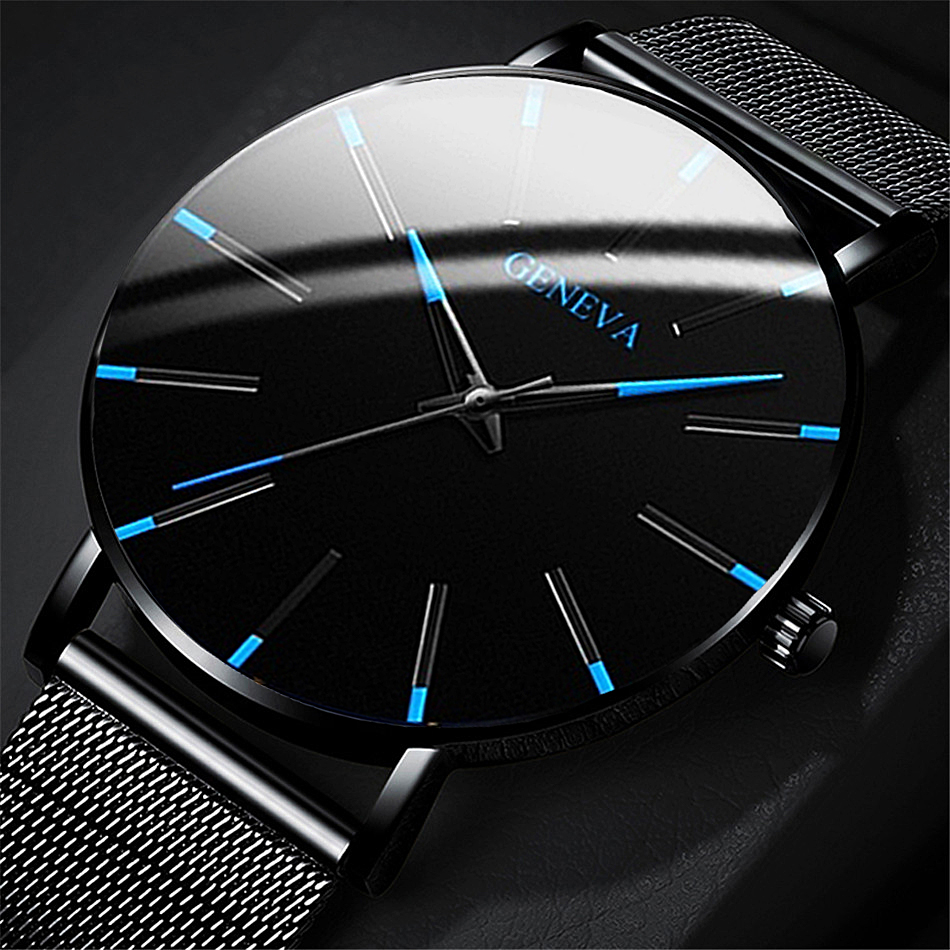 Relogio Masculino Watches Men Fashion Sport Stainless Steel Case Leather Band Watch Quartz Business Wristwatch Reloj Hombre