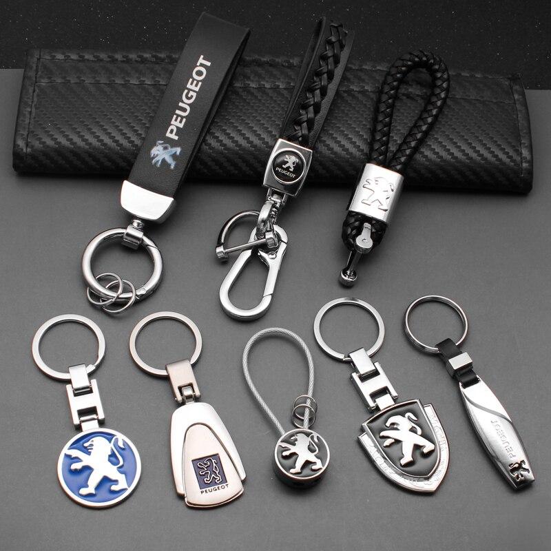 1 шт. 3D металлический/кожаный автомобильный брелок для стайлинга Peugeot 207 307 407 308 607 508 3008 2008 автомобильный брелок для ключей аксессуары
