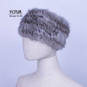 Женская вязаная повязка на голову YCFUR, повязка на голову с натуральным мехом кролика, аксессуар для волос, шарф, кольцо, шарф