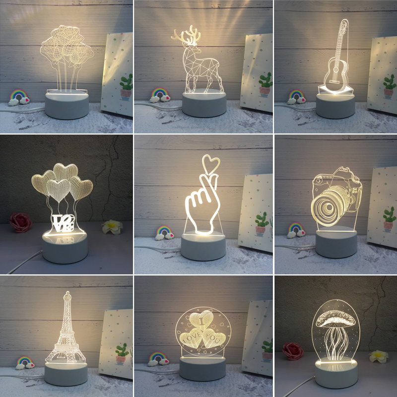 3D LED Lamp Creative Christmas gift Night Lights Novelty Illusion Night Lamp 3D Illusion Table Lamp