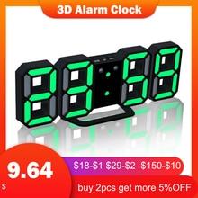 3D светодиодный цифровые будильники настенные часы со звуковым сигналом Функция настольные часы календарь термометр Дисплей офис электронные часы