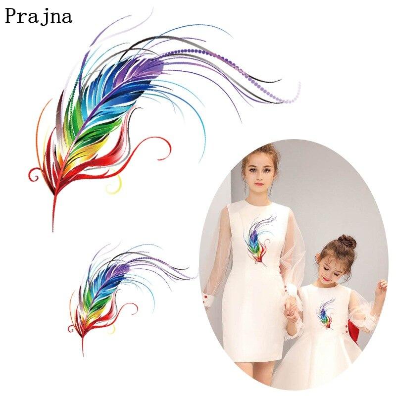 Prajna-autocollants licorne à la mode pour filles, autocollants plumes colorées à repasser sur vêtements, patchs, bricolage, 2 pièces