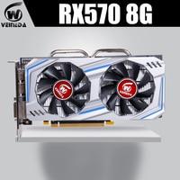 Veineda Graphics Card RX 570 8GB 256Bit GDDR5 1244/7000MHz video card for nVIDIA Geforce Games rx 570