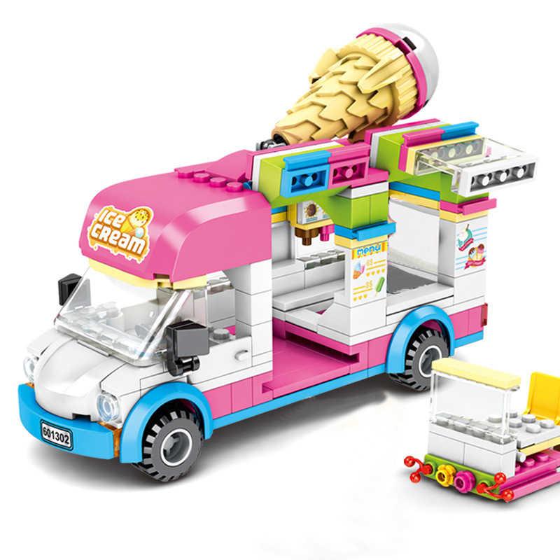 مدينة المركبات متوافقة Legoes الأصدقاء الجليد شاحنة الآيس كريم فان الإسعاف سيارة نموذج بناء كتل مجموعات الطوب لعب للأطفال