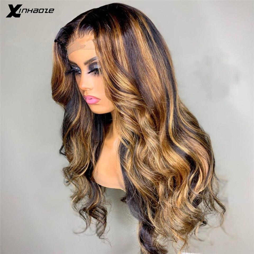 Perucas de cabelo humano frontal do laço da parte superior de seda 13*6*1 perucas de cabelo humano peruano do destaque louro do mel ombre onda do corpo marrom 5*5