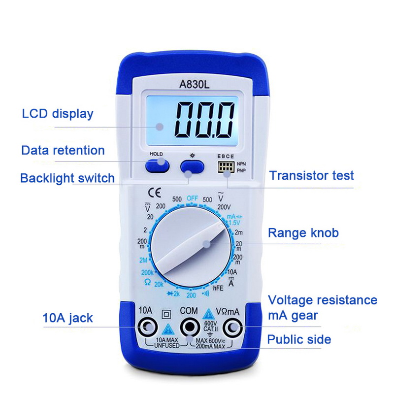 Image 3 - A830L Mini Multimeter LCD Digital Multimetro Volt Amp Ohm Tester Meter Voltmeter Ammeter Backlight Overload Protect With Probe-in Multimeters from Tools