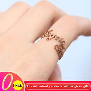 Custom Adjustable Double Name Ring Gold Silver Stainless Steel Couple Ring Fashion BFF Bijoux Personalized Rings For Women Men mantis boxing double peg stainless steel wushu weapon accept custom
